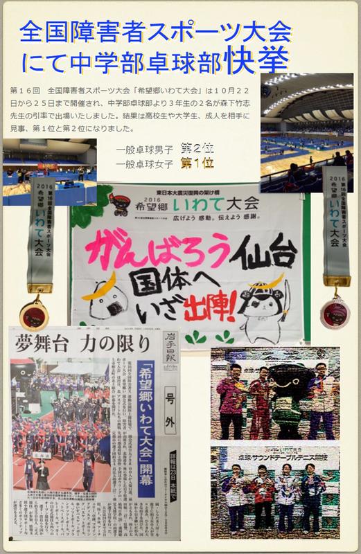 全国障害者スポーツ大会にて中学部卓球部快挙